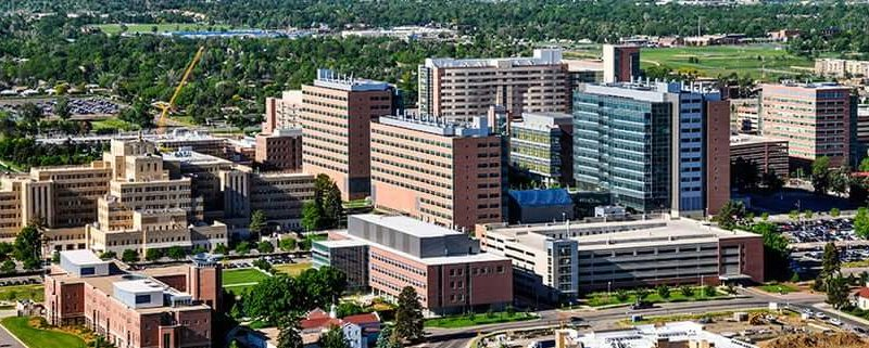 Aerial shot of a Medical school in Colorado