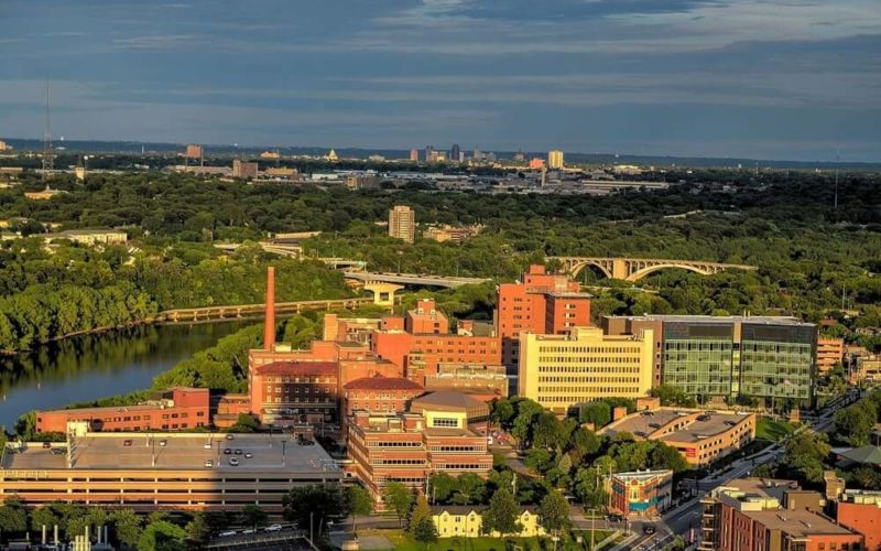 Aerial view of a medical school in Minnesota